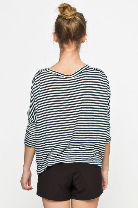 Woman's Bluzka Linen biała