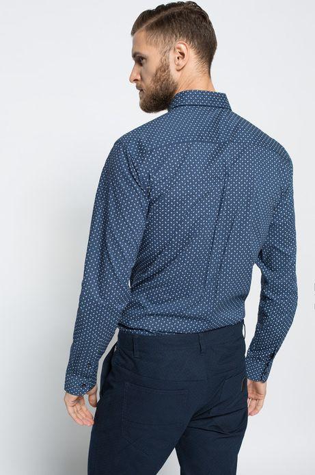 Man's Koszula Linen niebieska