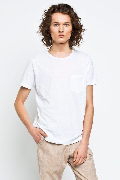Man's T-shirt Linen biały