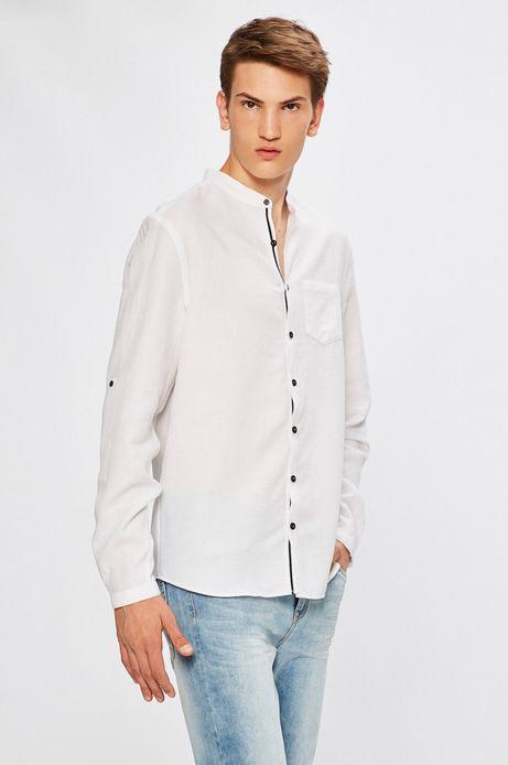Koszula męska z domieszką lnu biała