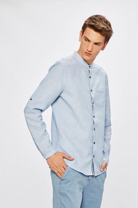 Man's Koszula męska z domieszką lnu niebieska