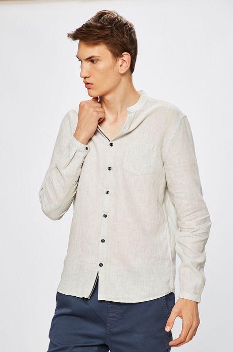 Koszula męska z domieszką lnu szara