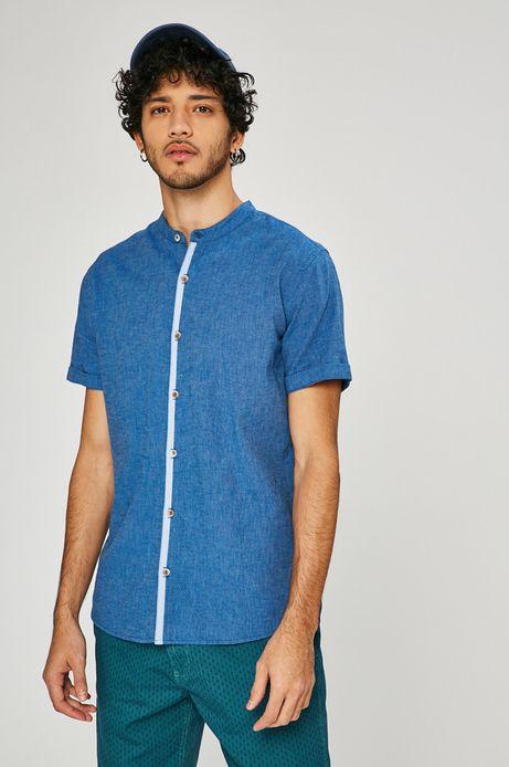 Lniana koszula męska Basic niebieska