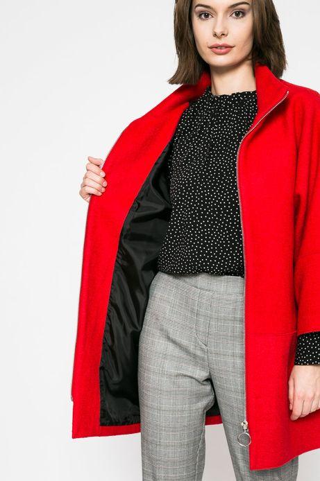 Płaszcz damski z domieszką wełny czerwony