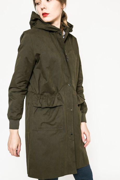 Przejściowa kurta damska z kapturem w kolorze zielonym