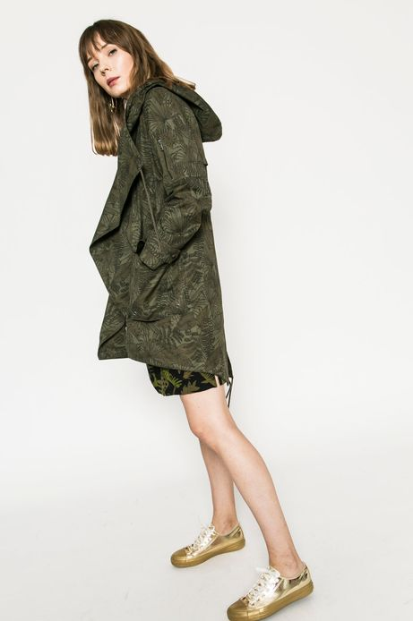 Woman's Przejściowa kurtka damska z kapturem zielona