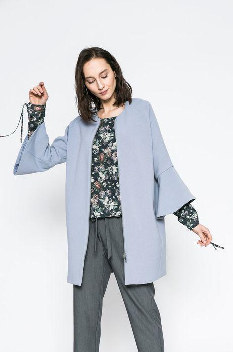 Woman's Elegancki płaszcz damski z ozdobnym rękawem