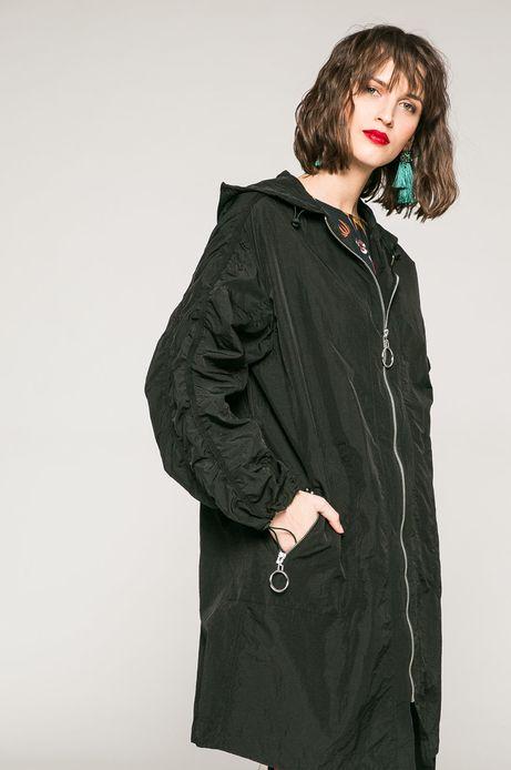 Woman's Przejściowa kurtka z kapturem czarna
