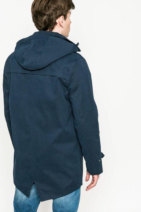 Przejściowy płaszcz męski z kapturem granatowy