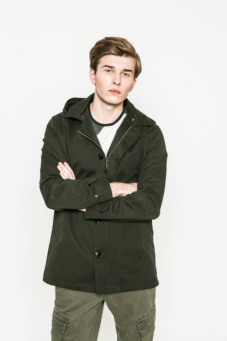 Przejściowy płaszcz męski z kapturem zielony