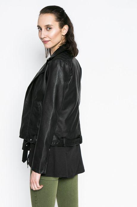 Krótka kurtka wiosenna z eco skóry czarna