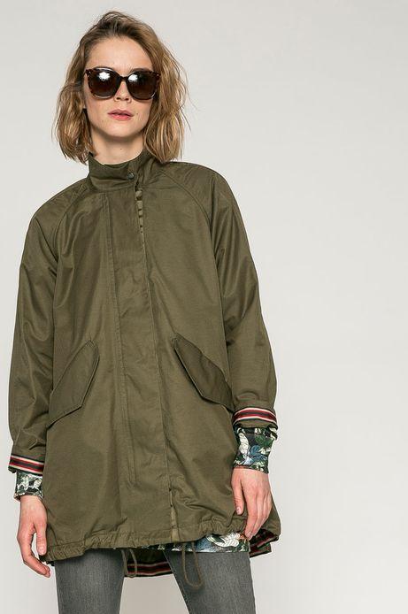 Woman's Przejściowa kurtka damska z gładkiego materiału w kolorze khaki
