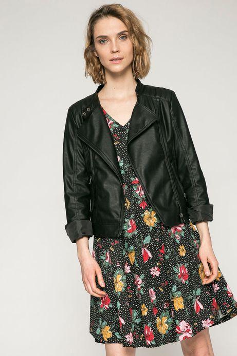 Woman's Krótka kurtka wiosenna z eco skóry czarna