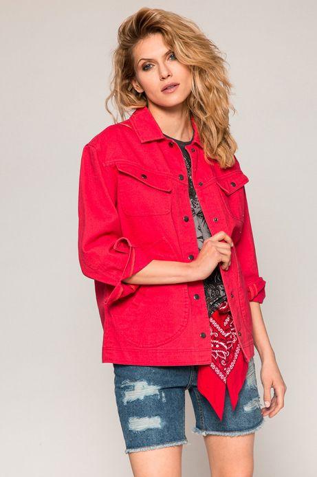 Woman's Denimowa kurtka damska oversize czerwona
