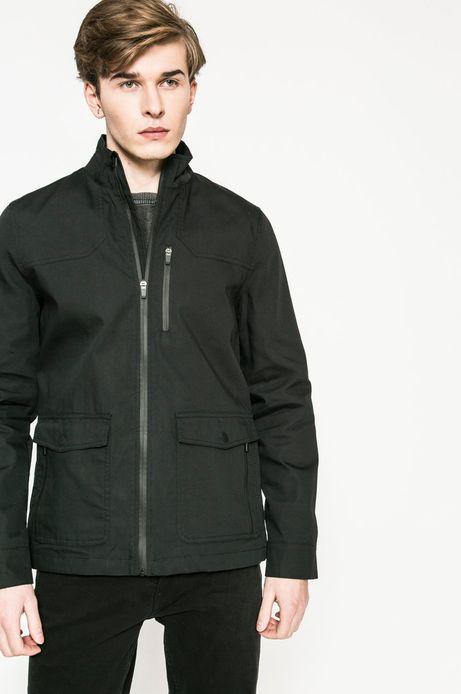 Wiosenna kurtka męska o prostym fasonie czarna