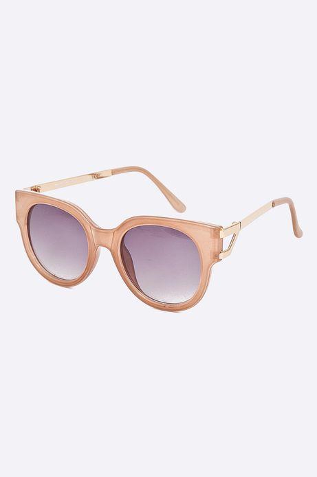 Okulary przeciwsłoneczne damskie w okrągłej oprawie beżowe