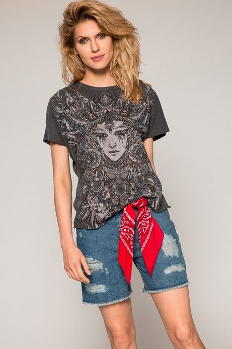 Woman's Top damski Cute and Bleak szary