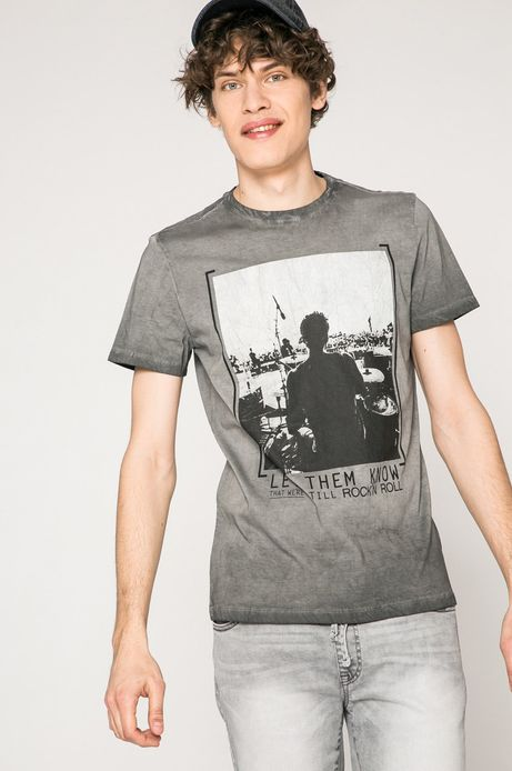 Man's T-shirt męski Rock and Roll Never Ends szary