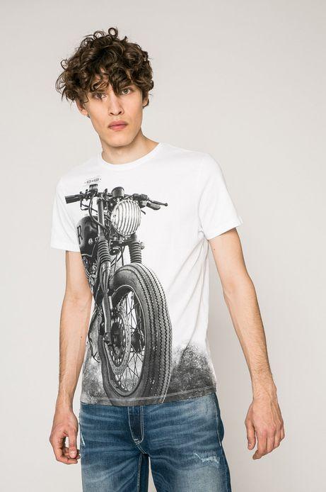 T-shirt męski Rock and Roll Never Ends biały