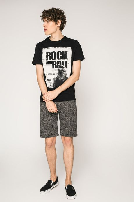 T-shirt męski Rock and Roll Never Ends czarny