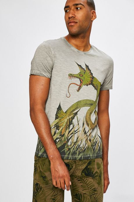 Man's T-shirt męski African Roots by Joanna Krótka szary