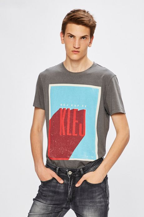 Man's T-shirt by Justyna Frąckiewicz, Grafika Polska szary