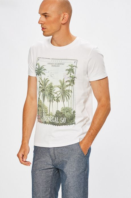 Man's T-shirt Desert Island biały