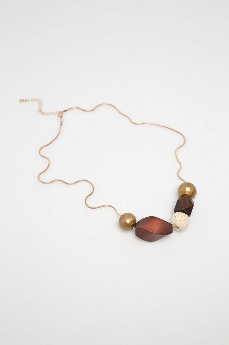 Naszyjnik damski z drewnianymi elementami
