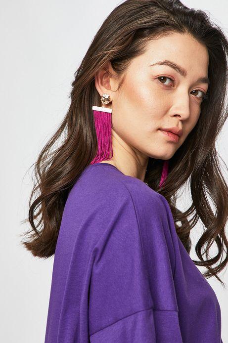 Kolczyki damskie z frędzlami fioletowe