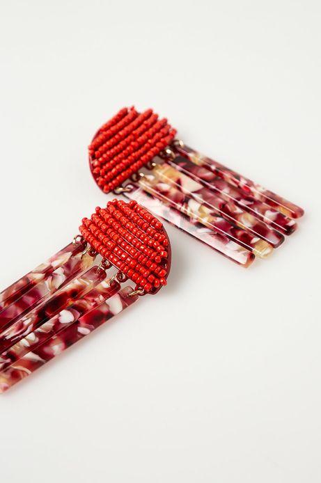 Kolczyki damskie wiszące czerwone