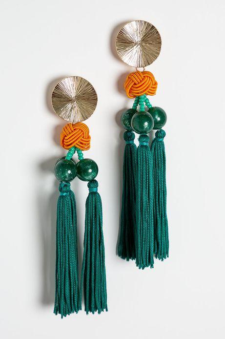 Kolczyki damskie z frędzlami zielone