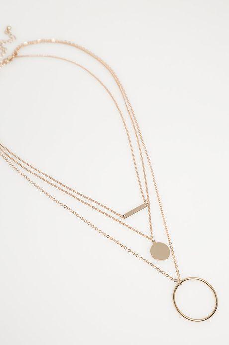 Naszyjnik damski z łańcuszków z zawieszkami złoty