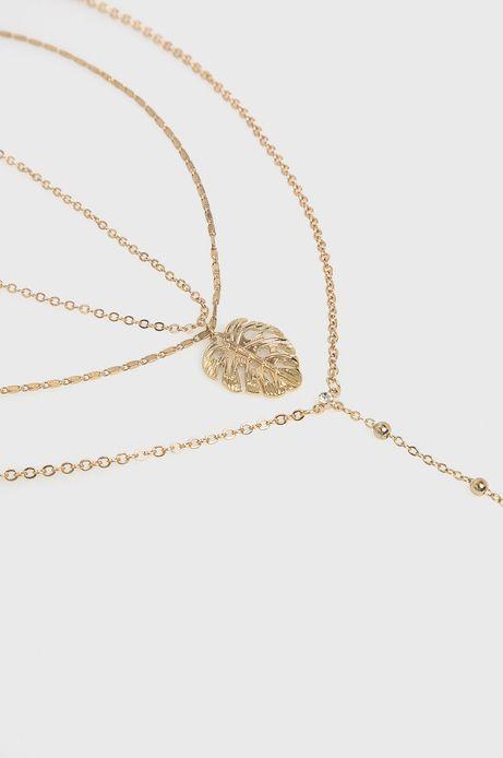 Naszyjnik damski z łańcuszków złoty