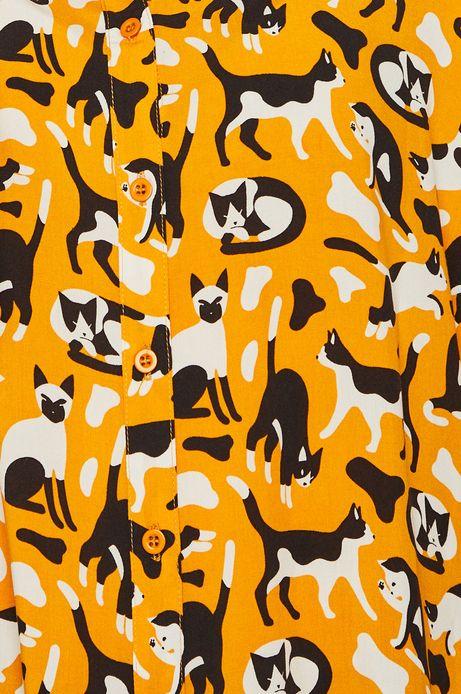 Koszula damska w koty żółta