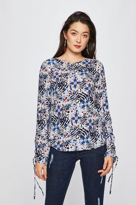 Koszula damska wzorzysta z marszczeniami na rękawach
