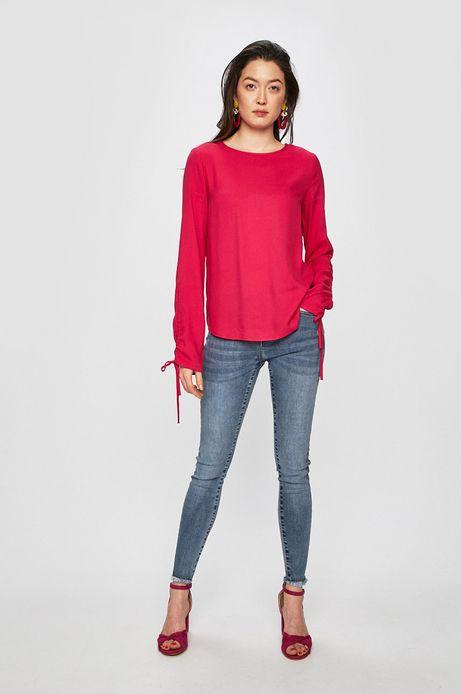 Koszula damska z marszczeniami na rękawach różowa