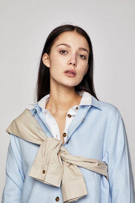 Koszula damska z domieszką lnu niebieska