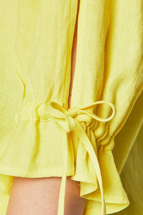 Bluzka damska z rozcięciami na rękawie żółta