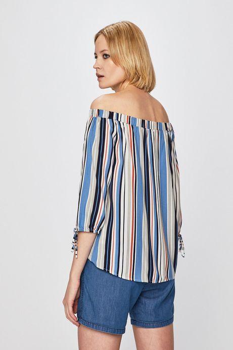 Bluzka damska z odkrytymi ramionami w paski