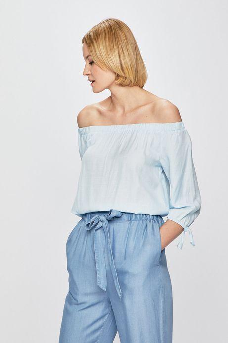 Bluzka damska z odkrytymi ramionami niebieska