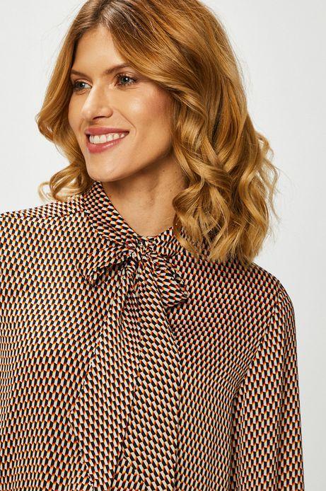Koszula damska z ozdobnym wiązaniem wzorzysta