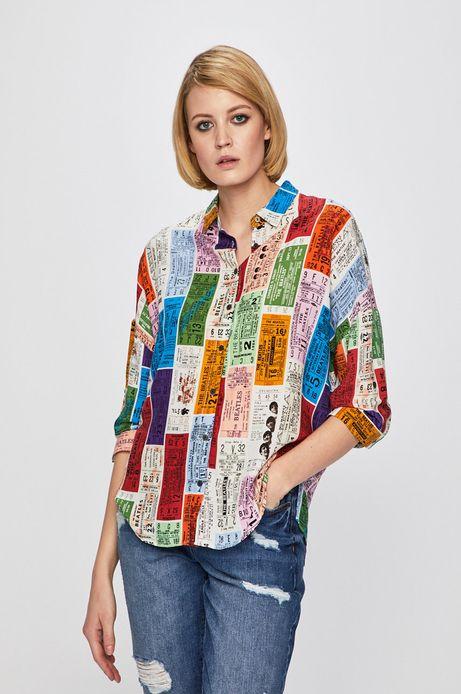 Koszula damska z obniżoną linią ramion wzorzysta