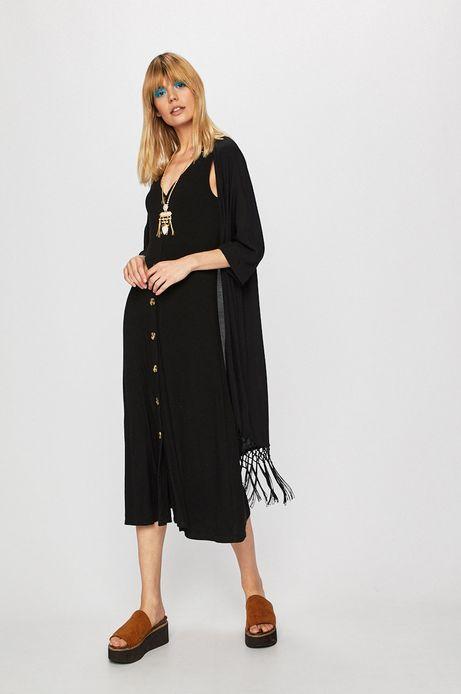 Kimono z frędzlami damskie czarne