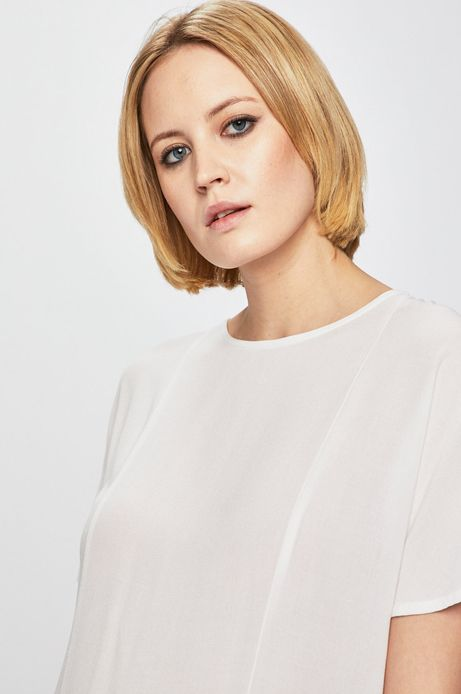 Bluzka damska z ozdobną falbanką biała