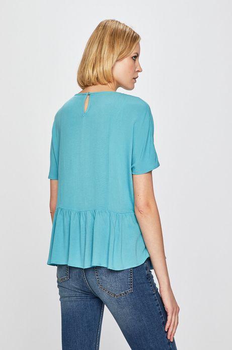 Bluzka damska z ozdobną falbanką turkusowa