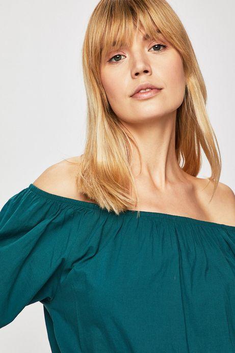 Top damski z odkrytymi ramionami zielony