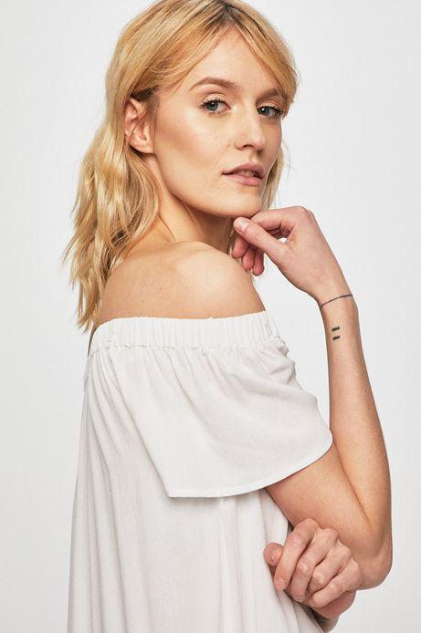 Top damski z odkrytymi ramionami biały