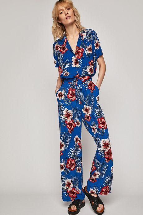 Koszula damska w kwiaty niebieski