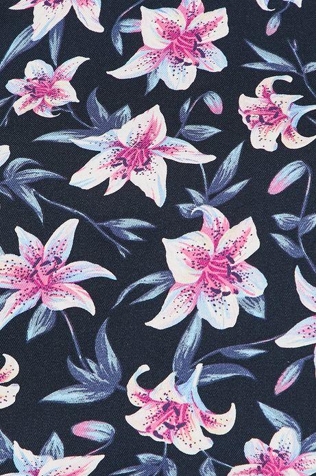 Bluzka damska w kwiaty niebieska