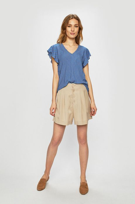Bluzka damska z ozdobnymi rękawami niebieska